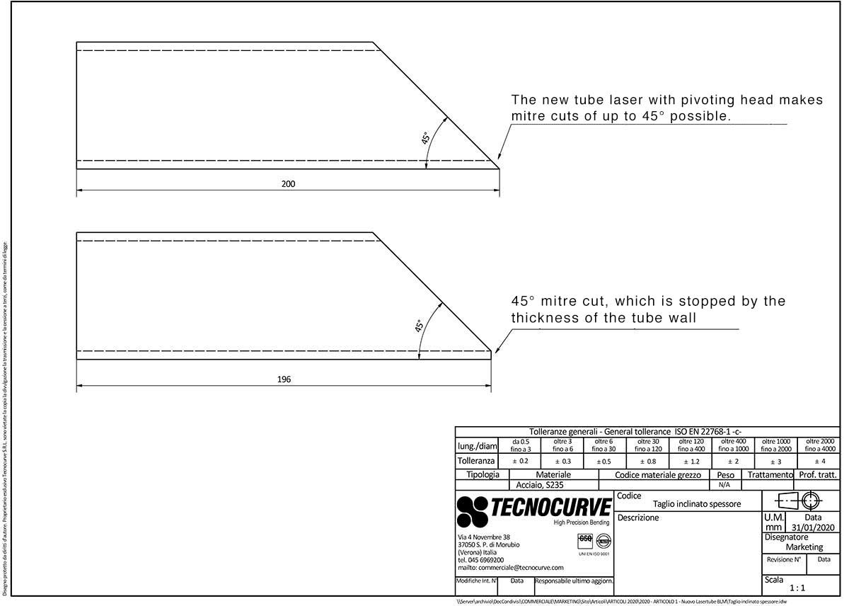 Technical drawing - laser cutting inclination angle