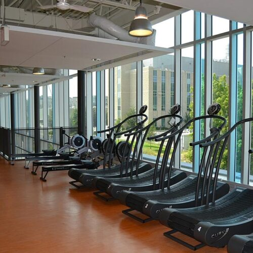 Stainless steel handles of gym machines