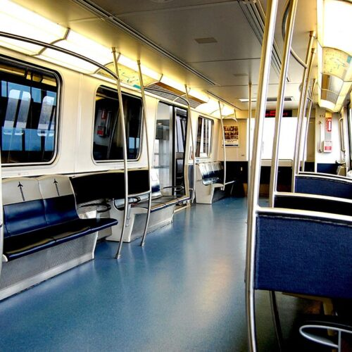 The inside of a metro carriage